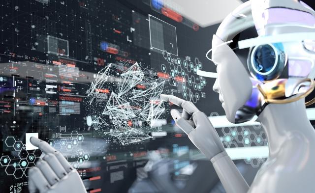 ロボットが機械を操作する近未来のイメージ